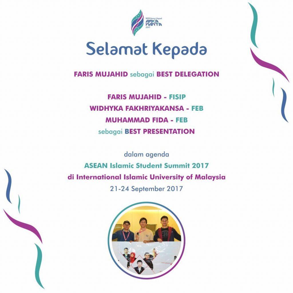 Mahasiswa Unpad Raih Best Presentation dalam ASEAN Islamic Student Summit 2017